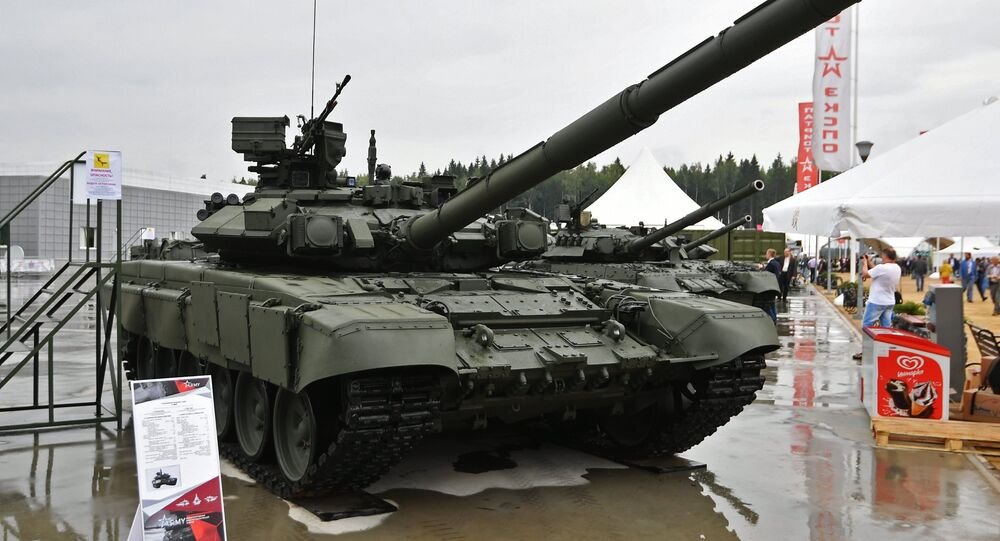 A T-90A tank at the ARMY 2017 International Military-Technical Forum