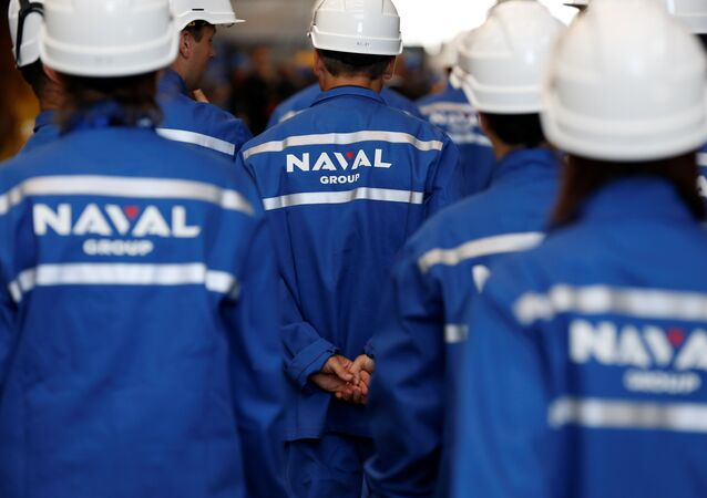 Workers of The Naval Group plant in Cherbourg-Octeville, north-western France on July 9, 2017