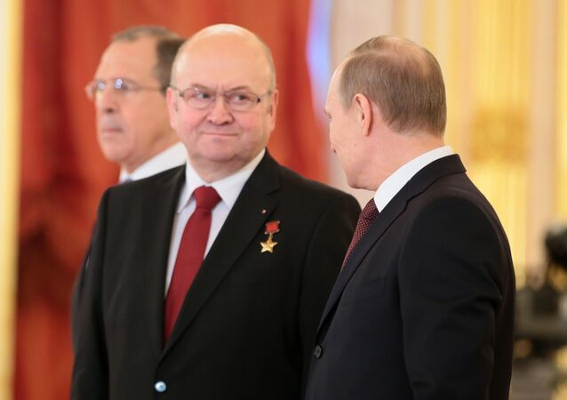 Russian President Vladimir Putin (right) and the Czech Republic's ambassador Vladimir Remek seen attending the ceremony of credentials delivery presentation at the St.Alexander Hall of the Grand Kremlin Palace, January 16, 2014