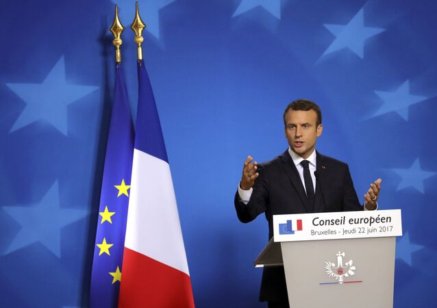 French President Emmanuel Macron speaks during a media conference at an EU summit in Brussels on Thursday, June 22, 2017