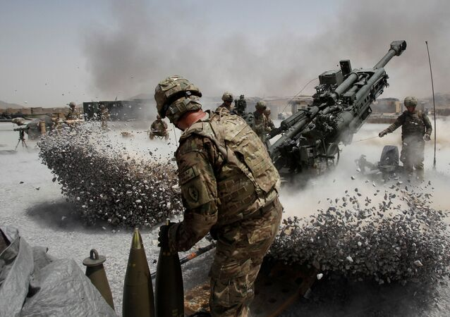 U.S. Army soldiers from the 2nd Platoon, B battery 2-8 field artillery, fire a howitzer artillery piece at Seprwan Ghar forward fire base in Panjwai district, Kandahar province southern Afghanistan (File)