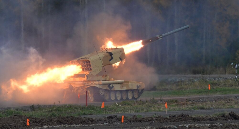 Heavy flamethrower system TOS-1A Solntsepyok during demonstration firing conducted at the 10th Russia Arms Expo international exhibition's opening