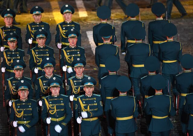 The solemn opening ceremony for the 10th Spasskaya Tower international military music festival in Moscow