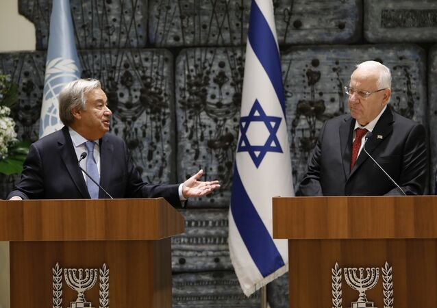 Israeli President Reuven Rivlin (R) and UN Secretary General Antonio Guterres deliver statements to the press prior to their meeting at the presidential compound in Jerusalem