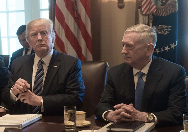 US President Donald Trump prepares to speak to the press before he meets with his cabinet in the Cabinet Room at the White House in Washington, DC, on March 13, 2017, as Defense Secretary James Mattis looks on