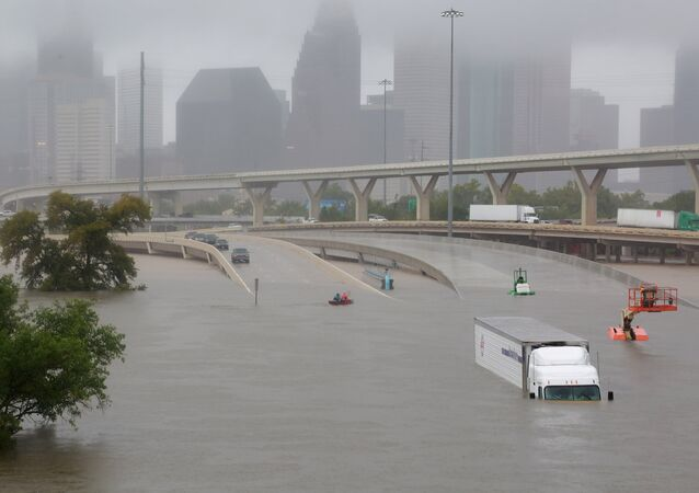 Interstate highway 45 is submerged from the effects of Hurricane Harvey seen during widespread flooding in Houston, Texas, U.S.