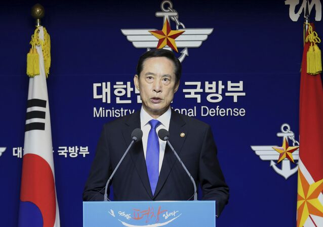 South Korean Defense Minister Song Young-moo speaks during a press conference at the Defense Ministry in Seoul, South Korea, Saturday, July 29, 2017.