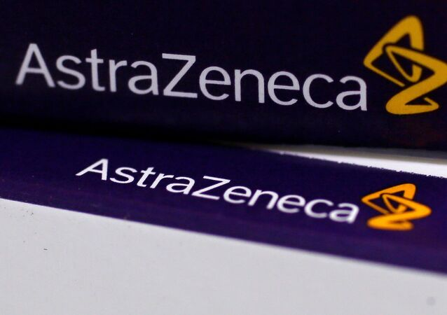 FILE PHOTO:The logo of AstraZeneca is seen on medication packages in a pharmacy in London.