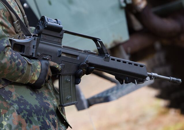 German soldier holds a Heckler & Koch G36 assault rifle at a military training ground near Weisskeissel,  Germany. (File)