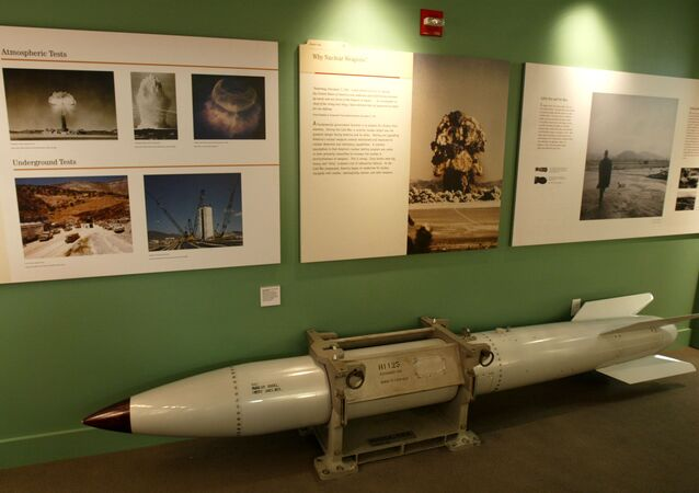 An empty B61 multipurpose thermonuclear tactical bomb is on display at the Atomic Testing Museum in Las Vegas. (File)