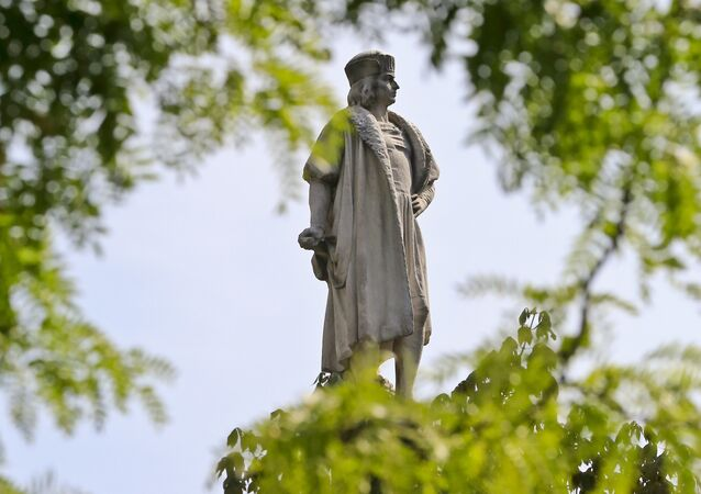 Christopher Columbus statue in Manhattan.