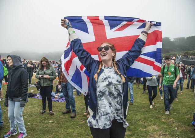 Girl holding the Union Jack