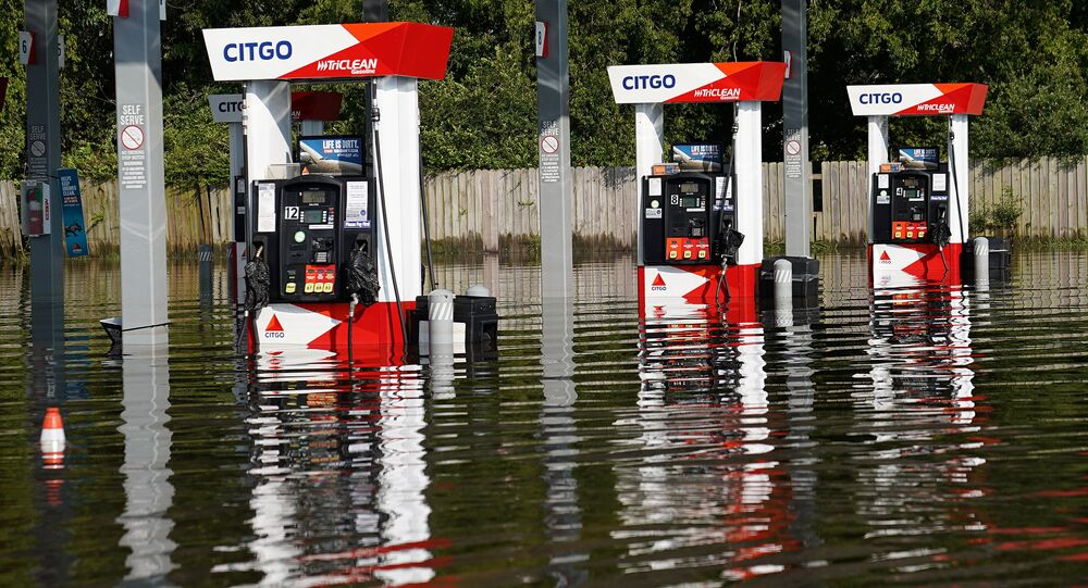 A flooded Citgo gas station is pictured as a result of Tropical Storm Harvey in Port Arthur, Texas, U.S., August 31, 2017