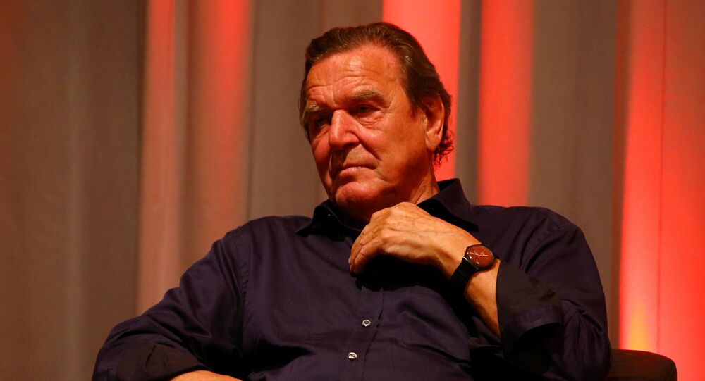 Former German Chancellor and SPD member Gerhard Schroeder joins the campaign trail in Rotenburg, Germany, August 30, 2017
