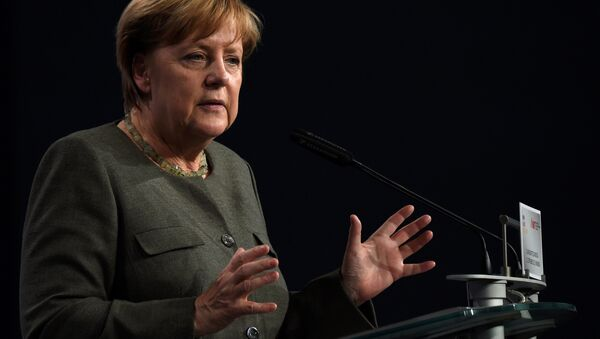 German Chancellor Angela Merkel gestures during her speech at the meeting of the Middle-size economy and economic union of the CDU/CSU in Nuremberg, southern Germany, on September 1, 2017 - Sputnik International