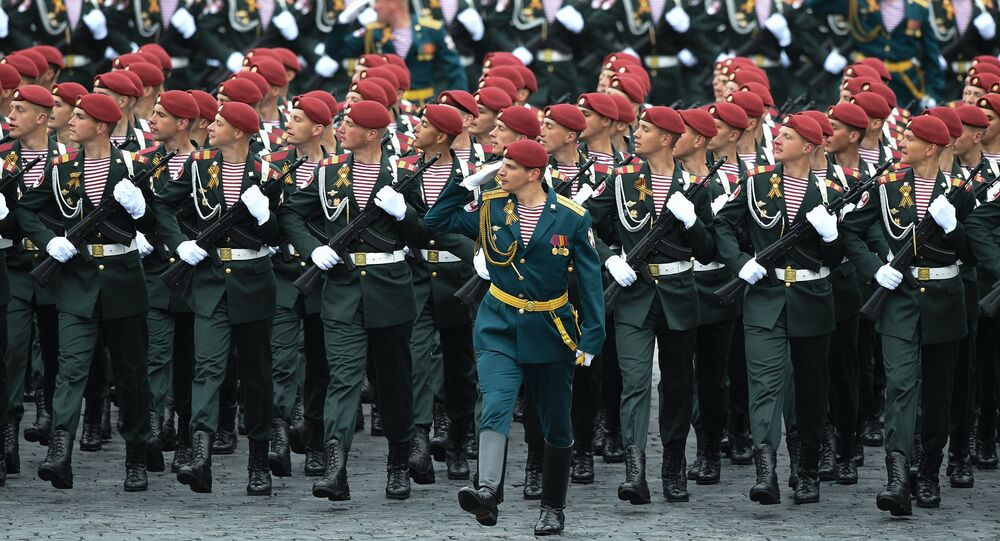 Servicemen of the Russian National Guard during the military parade marking the 72nd anniversary of Victory in the 1941-45 Great Patriotic War on Red Square, Moscow