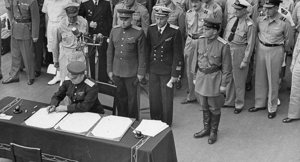 Soviet officers join the Allies onboard the USS Missouri for the signing of Japan's surrender, September 2, 1945