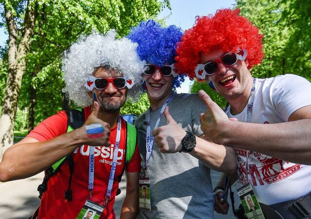 Russian fans before the opening match of the 2017 FIFA Confederations Cup on the premises of St. Petersburg Arena Stadium