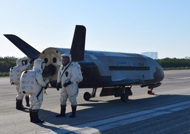 USAF X37B spacecraft at NASA's Kennedy Space Center Shuttle Landing Facility in Cape Canaveral, Fla., Sunday, May 7, 2017.