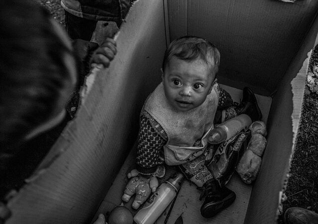 A baby sits in a cardboard box in the Idomeni camp on the Greek-Macedonian border