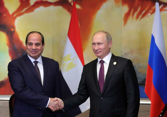 September 4, 2017. Russian President Vladimir Putin during a meeting with Egyptian President Abdel Fattah el-Sisi, left, on the sidelines of the BRICS summit