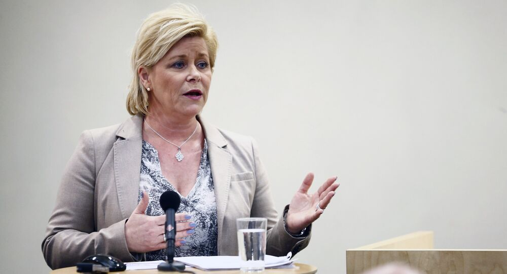 Norwegian Minister of Finance Siv Jensen presents the parliamentary report of the Norwegian Pension Oil fund. (File)