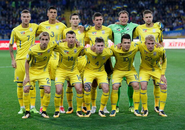 Ukraine players pose for the pre match photograph. 2018 World Cup Qualifications - Europe - Ukraine vs Turkey - Kharkiv, Ukraine September 2, 2017.
