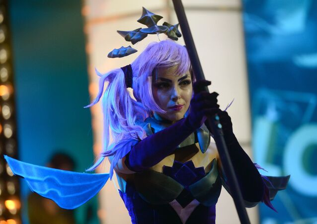 A cosplayer during the League of Legends Continental League finals at the Glavkino film and television complex in the Moscow Region