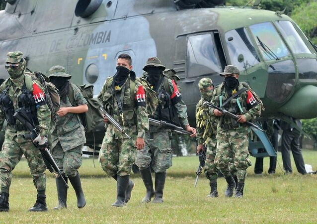 Members of the ELN (National Liberation Army) arrive in Cali, Colombia. (File)