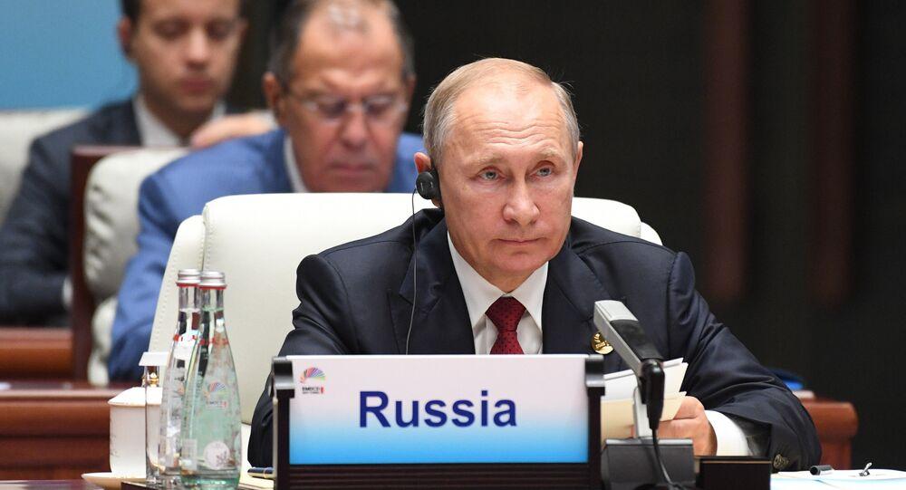 Russian President Vladimir Putin at the BRICS leaders expanded meeting