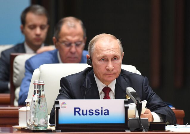 Russian President Vladimir Putin at the BRICS leaders expanded meeting