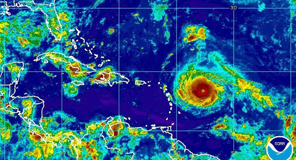 This Monday, Sept. 4, 2017, satellite image provided by the National Oceanic and Atmospheric Administration shows Hurricane Irma nearing the eastern Caribbean