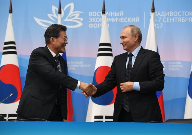 Russian President Vladimir Putin and President of South Korea Moon Jae-in, left, during a joint press statement on the results of the meeting held as part of the 3rd Eastern Economic Forum at the Far Eastern Federal University, Russky Island. September 6, 2017