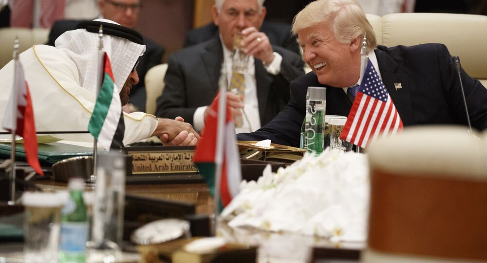 US President Donald Trump shakes hands with Abu Dhabi's Crown Prince Mohammed bin Zayed Al Nahyan during a meeting with leaders at the Gulf Cooperation Council Summit, at the King Abdulaziz Conference Center, Sunday, May 21, 2017, in Riyadh, Saudi Arabia.