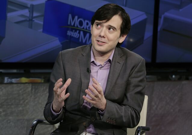 Former pharmaceutical CEO Martin Shkreli speaks during an interview by Maria Bartiromo during her Mornings with Maria Bartiromo program on the Fox Business Network, in New York, Tuesday, Aug. 15, 2017.