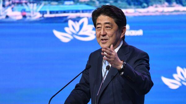Japanese Prime Minister Shinzo Abe speaks at the plenary session of the 3rd Eastern Economic Forum in Vladivostok - Sputnik International