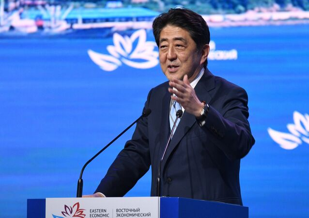 Japanese Prime Minister Shinzo Abe speaks at the plenary session of the 3rd Eastern Economic Forum in Vladivostok