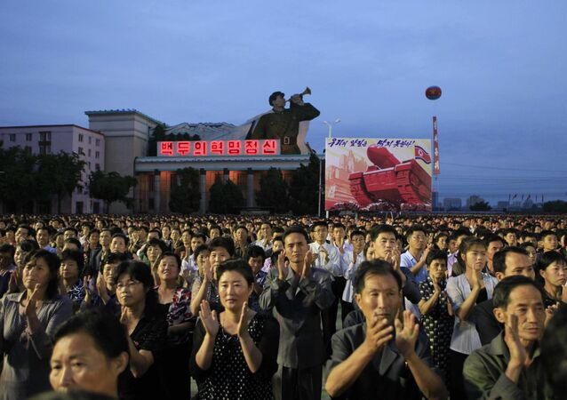 In this Wednesday, Sept. 6, 2017 photo, civilians and military personnel participate in a mass rally in Kim Il Sung Square in Pyongyang, North Korea, to mark their country's sixth underground nuclear test