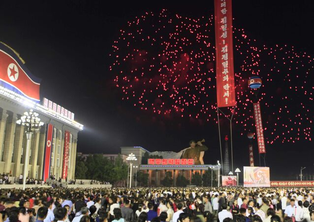 In this Wednesday, Sept. 6, 2017 photo, fireworks explode after civilians and military personnel participated in a mass rally in Kim Il Sung Square in Pyongyang, North Korea, to mark their country's sixth underground nuclear test