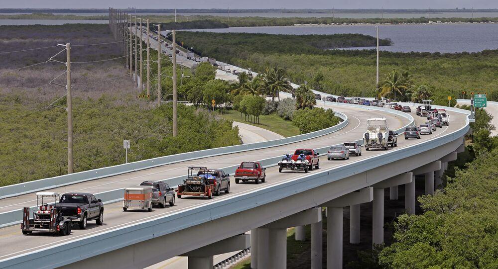 Motorists head north of Key Largo, Fla., on US 1, in anticipation of Hurricane Irma, Wednesday, Sept. 6, 2017.