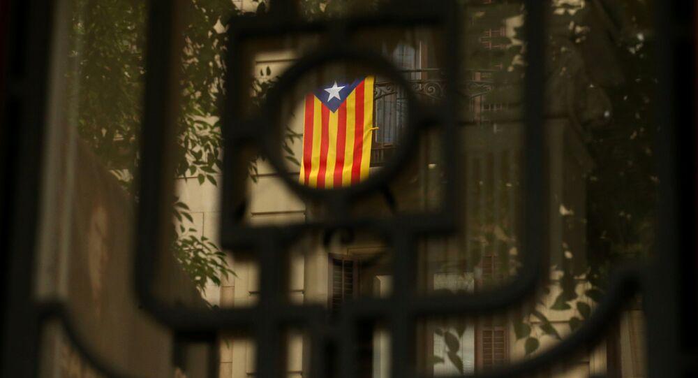 An Estelada (Catalan separatist flag) hangs on a balcony in Barcelona, Spain, September 7, 2017