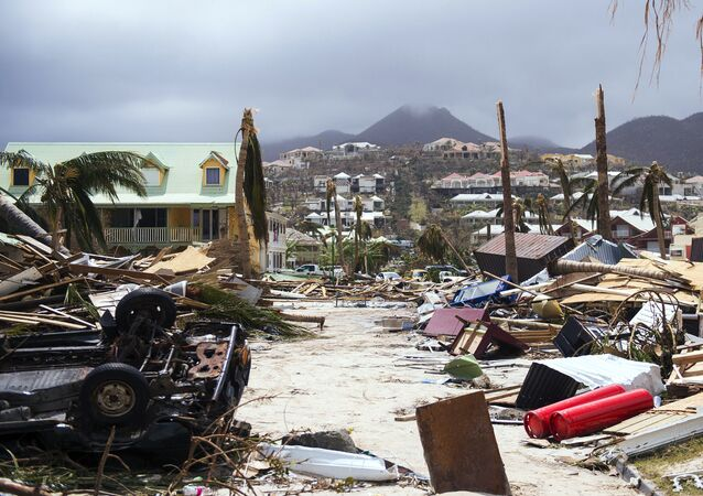 A photo taken on September 7, 2017 shows damage in Orient Bay on the French Carribean island of Saint-Martin, after the passage of Hurricane Irma