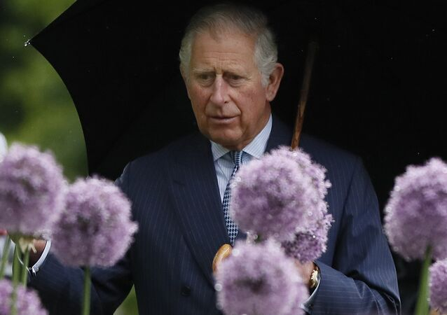 Britain's Prince Charles looks at a display of alliums during a visit to the Royal Botanic Gardens, Kew, in London, Wednesday, May 17, 2017.
