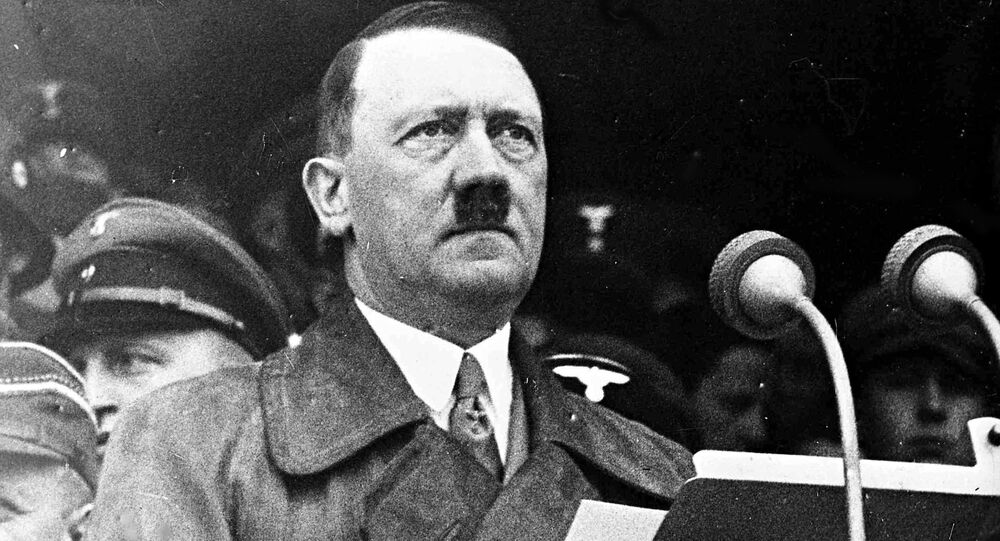 German Chancellor Adolf Hitler during his address to 80,000 workers in the Lustgarten, Berlin, May 1, 1936, s part of the May Day Celebrations.