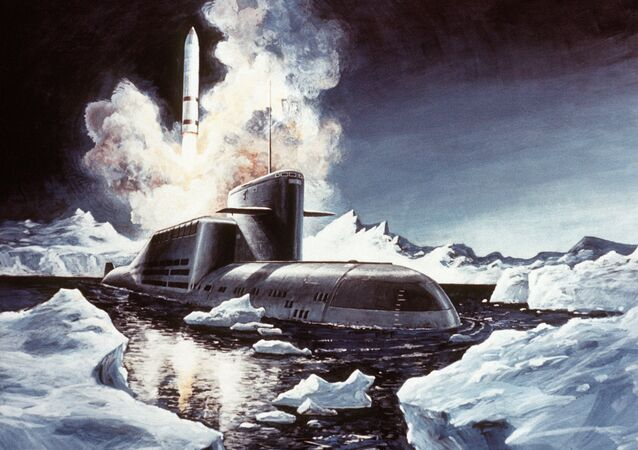 Artist's concept of a Soviet SS-NX-23 ballistic missile being launched from a Delta III-class nuclear-powered ballistic missile submarine