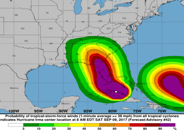 National Hurricane Center graphic showing Hurricane Irma followed closely by Hurricane Jose, September 9. 2017