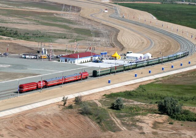 Train operation starting on the Yandyki-Olya railroad stretch, crossing the Astrakhan Region. It is part of the North-South transnational transport corridor, which will link Russia with Iran, India and Southeast Asia (File)