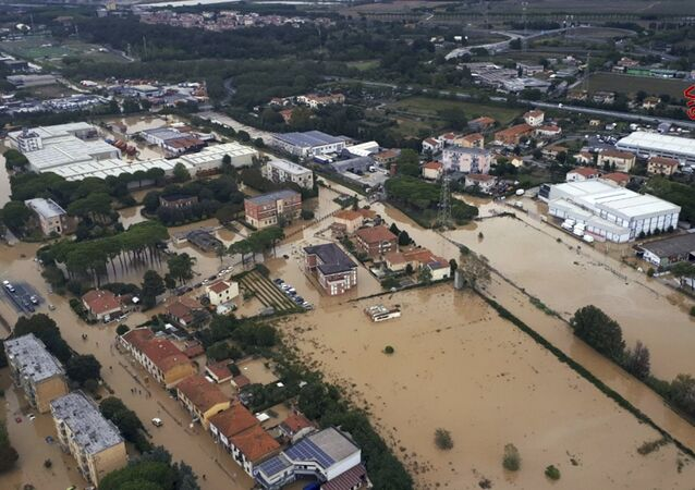 An aerial view of the city of Leghorn, Italy, following floods, Sunday, Sept. 10, 2017.