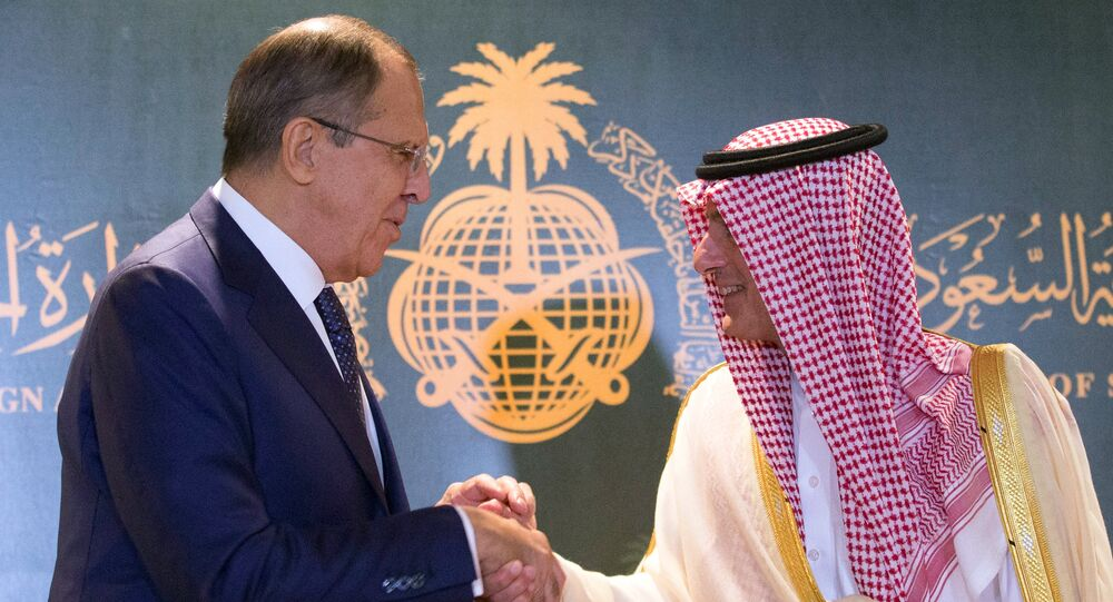 Russian Foreign Minister Sergey Lаvrov, left, and Saudi Foreign Minister Adel al-Jubeir during their meeting in Jeddah