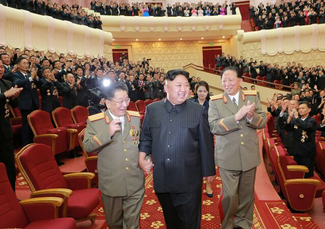 North Korean leader Kim Jong Un reacts during a celebration for nuclear scientists and engineers who contributed to a hydrogen bomb test, in this undated photo released by North Korea's Korean Central News Agency (KCNA) in Pyongyang on September 10, 2017